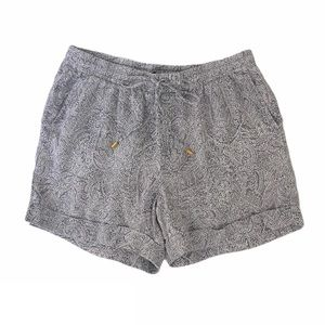 Ellen Tracy Purple Paisley Linen Lounge Shorts